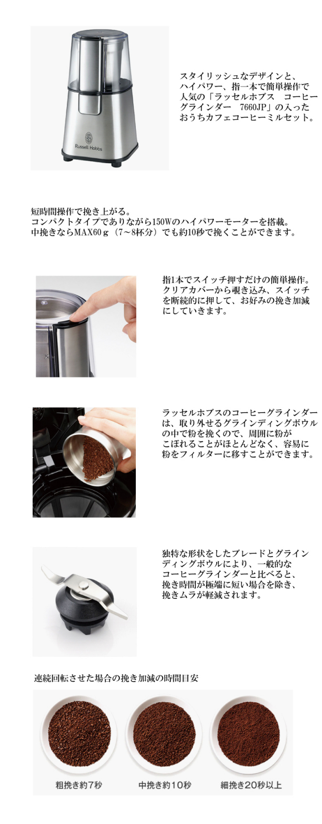 ラッセルホブスのコーヒーミルセット