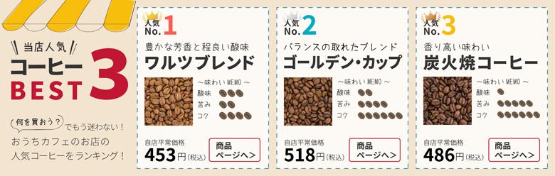 おうちカフェのお店オススメコーヒー豆のランキング