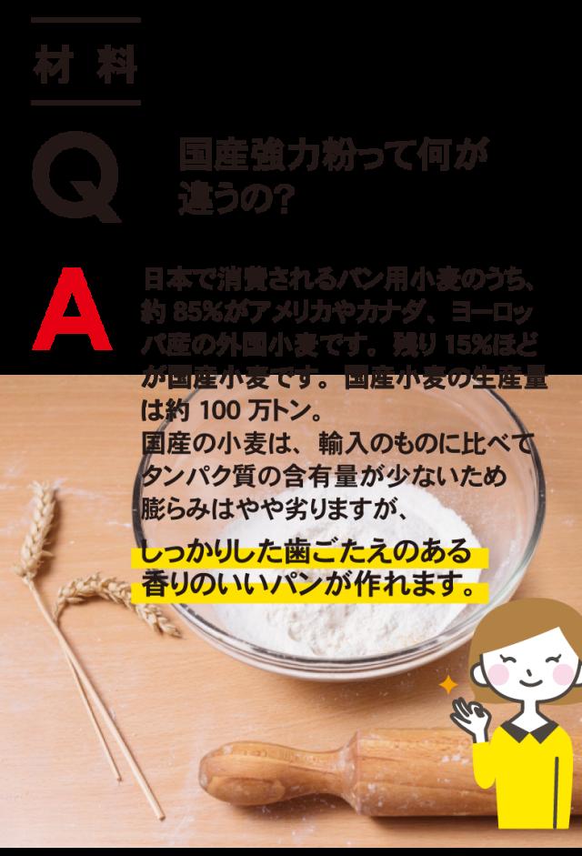 《材料》 Q. 国産強力粉って何が違うの?  A. 日本で消費されるパン用小麦のうち、約85%がアメリカやカナダ、ヨーロッパ産の外国小麦です。残り15%ほどが国産小麦です。国産小麦の生産量は約100万トン。 国産小麦は輸入ものに比べてタンパク質の含有量が少ないため膨らみはやや劣りますが、しっかり歯ごたえのある香りのいいパンが作れます。